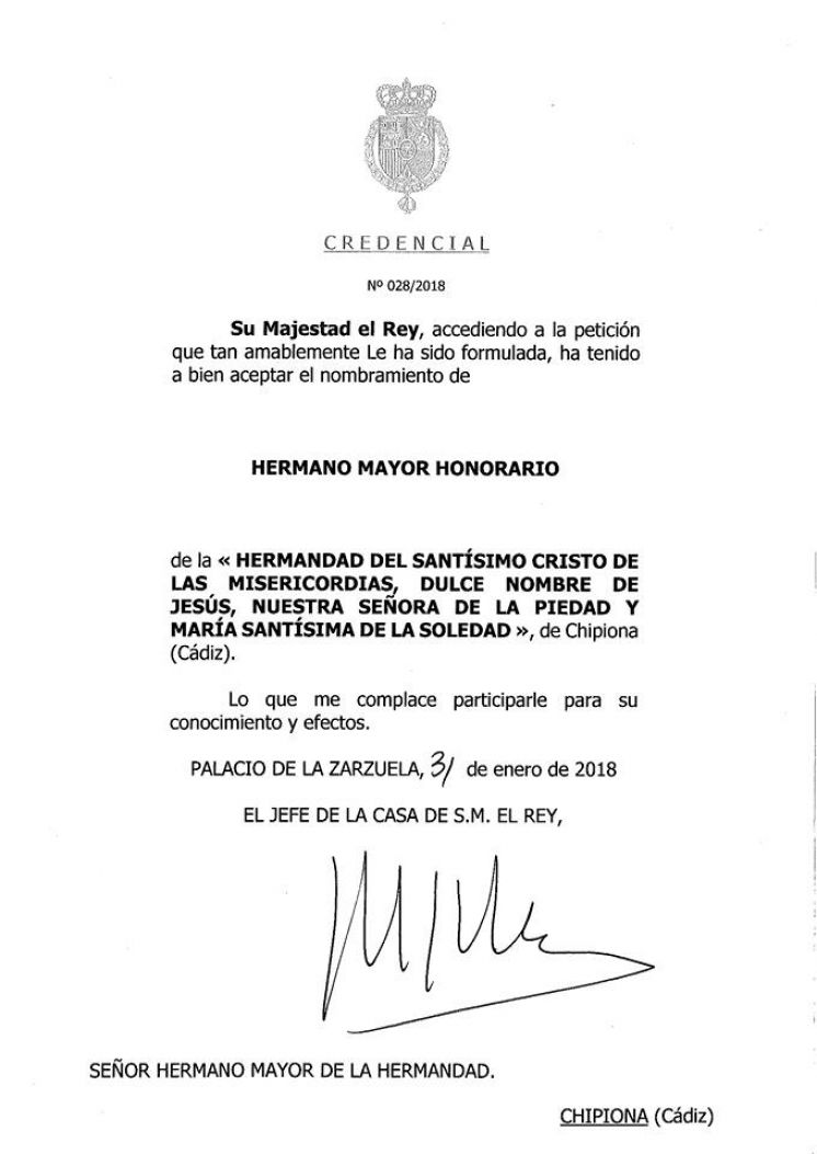 Felipe VI acepta convertirse en Hermano Mayor Honorario del Cristo de las Misericordias